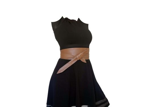 Wrap Leather Obi Belt, Brown Wide Leather Belts, Sash Belts, Women Trendy Accessories, Dean