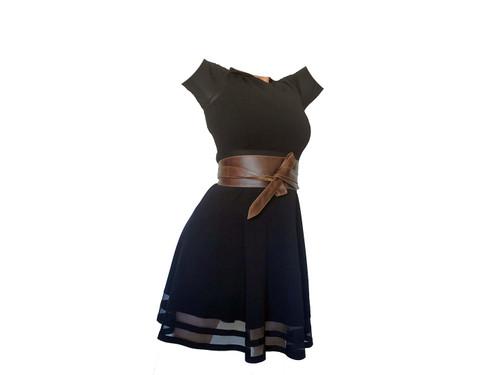 Brown Distressed Leather Wide Belt, Fashion Stylish Women Obi Belts, Dean