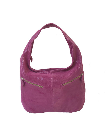 Slouchy Hobo Bag, Pink Suede Leather Purse, Aly