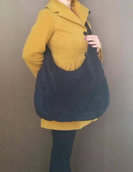Large Black Cross body Sling Purse - Casual velvet bag - marion