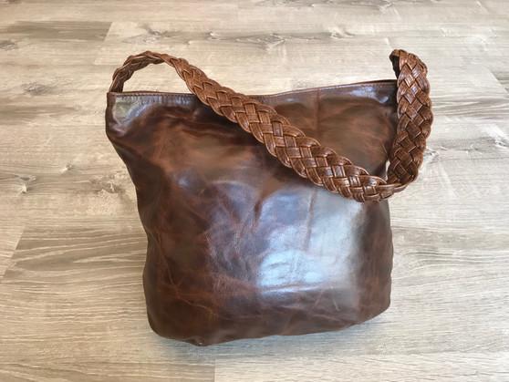 Distressed Oil Leather Hobo Bag w/ Braided Handle, Rustic Handbag, Claudia