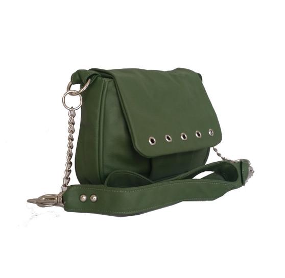 Small Forest Green Leather Crossbody Purse Bag - everyday handmade handbag - Gift ideas - sury