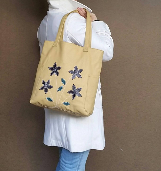 Beige Leather Tote Bag,  Casual Shoulder Purse, Yury