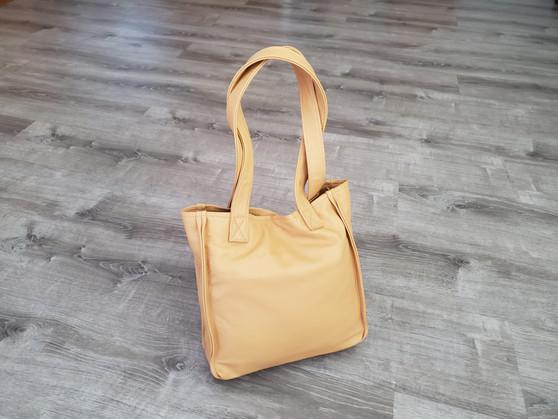 Beige Leather Purse, Everyday Bag, Shoulder Handbag, Annel