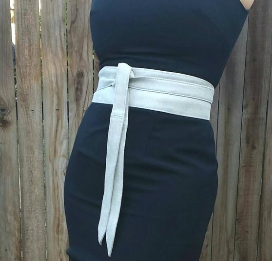 Suede Leather Obi Belt -  Wide Wrap Belts - Women's tie belts - Wedding Wraparound Unique Belts
