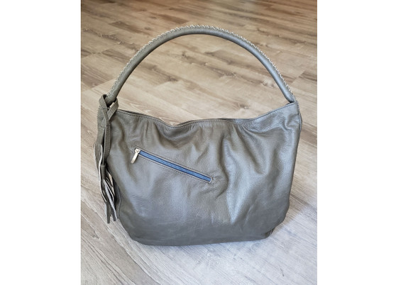 Rustic Gray Leather Purse, Handmade Casual Handbag, Sofia