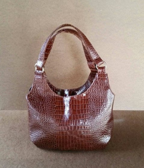 Original Croco Brown Leather Shoulder Bag - Everyday Small Purse - Tote Handbag - bony