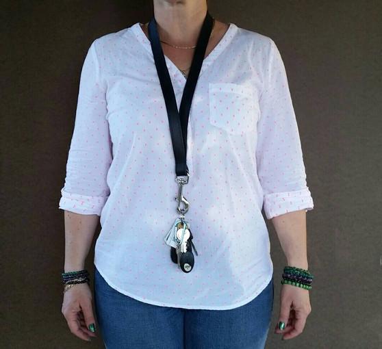 Black leather lanyard - key lanyard - ID holder - fashion gift - leather neck lanyard