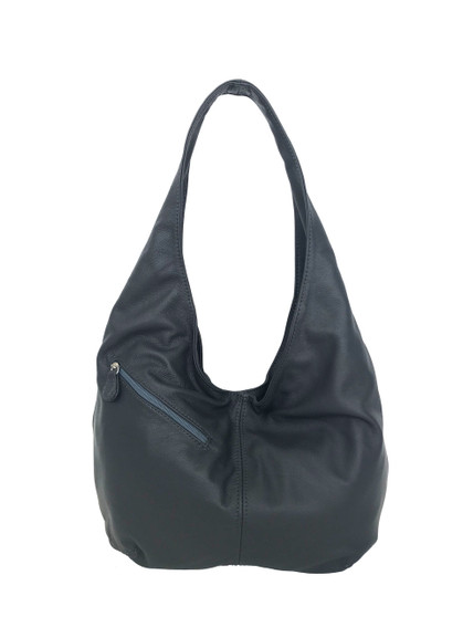 Gray Leather Hobo Bag w/ Pockets, Casual Everyday Fashion Purse, Alicia