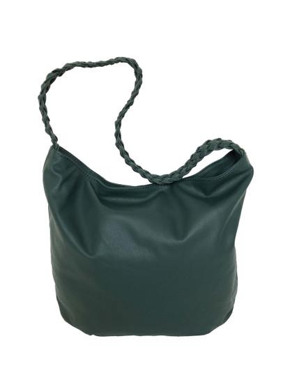 Green Leather Bag w/ Braided Handle, Fashion Leather Purse, Casual Shoulder Handbag, Claudia