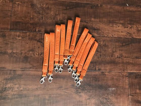 Leather Key Chain Strap, Keychain Holder, Leather Accessories, Orange