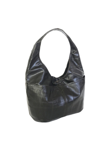 Distressed Leather Hobo Bag w/ Pockets, Trendy Classic Bags, Vintage style, Alicia