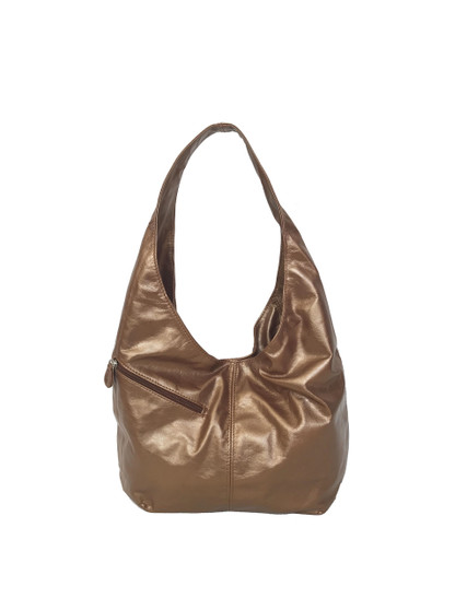 Slouchy Leather Hobo Bag w/ Pockets in Bronze, Trendy Bag, Alicia