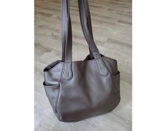 Brown Leather Bag, Fashion Shoulder Handbag,  Casual Everyday Purse, Liliana