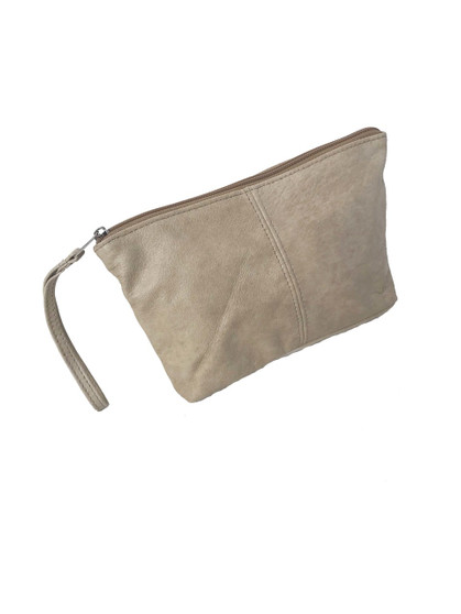 Small leather bag with wrist strap
