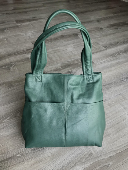 Green Leather Shoulder Bag with Pockets, Fashion Bags, Cloe