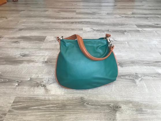 Green Hobo Leather Purse Bag - Small Shoulder Handbag, Becky