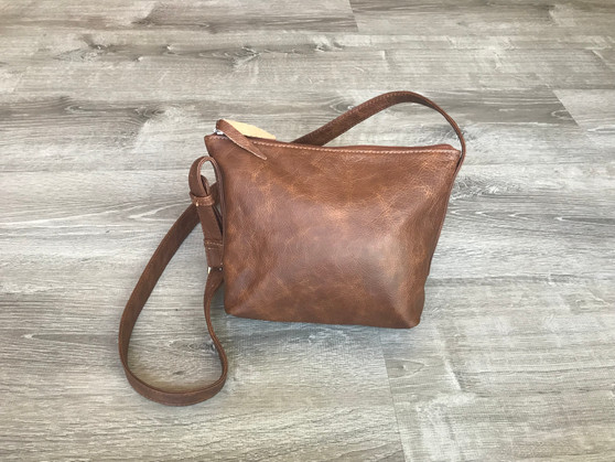 Brown Leather Cross body Bag, Everyday Small Casual Purse, Fashion and Trendy Handbags, Abby