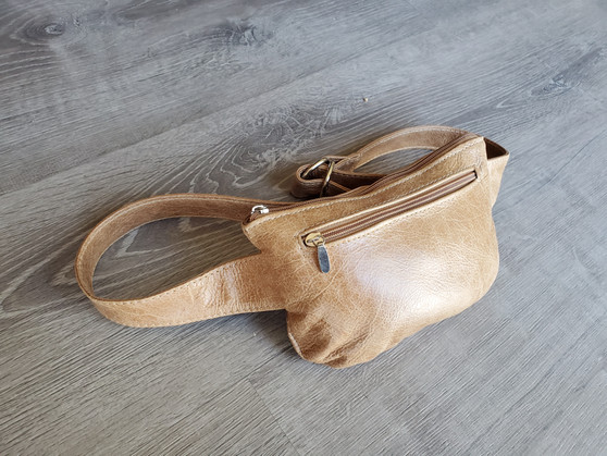 Distressed Leather Belt Bag, Waist Fanny Pack, Hip Bag, Unisex, David
