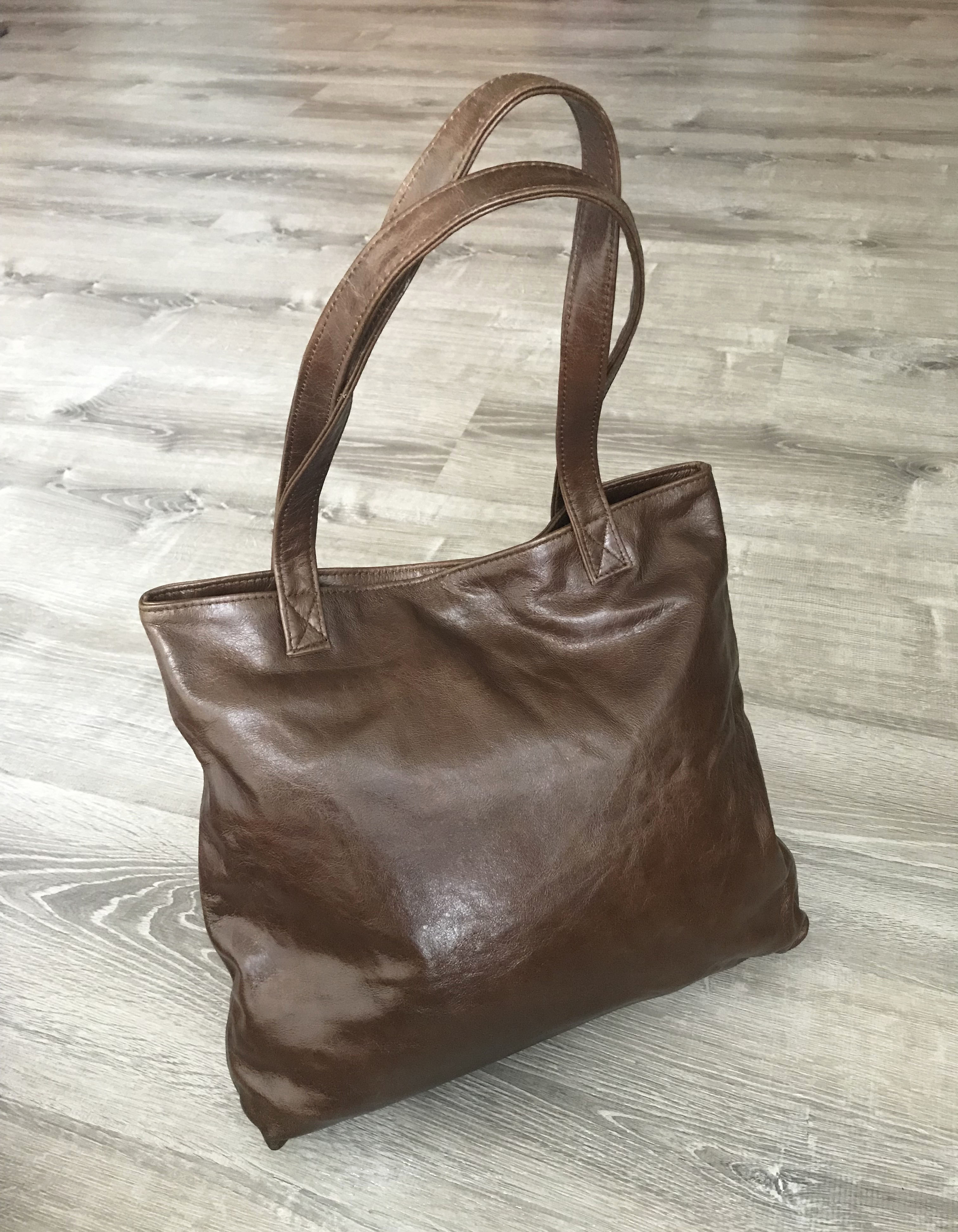 Brown Leather Tote Purse Bag - Casual Shoulder Tote - Women's Purses -  Lightweight Handmade Totes yosy - Fgalaze Genuine Leather Bags & Accessories