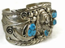 Sterling Silver Turquoise Bear Bracelet - Large Size