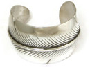 """Sterling Silver Feather Cuff Bracelet 1 1/2"""" by Lena Platero, Navajo"""