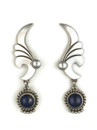 Silver Lapis Dangle Earrings by Navajo Fritson Toledo