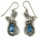 Sterling Silver Blue Topaz Earrings by Les Baker