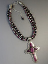 Three Strand Purple Spiny Oyster Shell Cross Necklace by Albert Jake