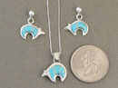 Sterling Silver Turquoise Inlay Reversible Bear Pendant & Earring Set