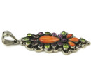 Spiny Oyster Shell, Peridot, Garnet & Amethyst Pendant by Selena Warner, Navajo
