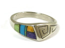 Sterling Silver Multi Gemstone Inlay Ring Size 6 (RG2063)