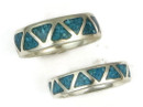 Turquoise Chip Inlay Band Ring Size 13