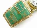 12k Gold & Silver Green Kingman Turquoise Inlay Watch