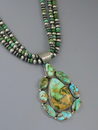 Natural Royston Turquoise Cluster Pendant Necklace by LaRose Ganadonegro
