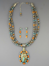 Natural Royston Boulder Turquoise & Spiny Oyster Shell Necklace Set by LaRose Ganadonegro