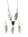 Sterling Silver Lapis Feather Necklace Earring Set by Les Baker Jewelry