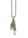 Double Silver Feather Pendant by Lena Platero