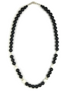 Onyx & White Buffalo Bead Necklace 18""