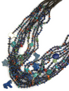 10 Strand Lapis Beaded Treasure Necklace Set by Ronald Chavez