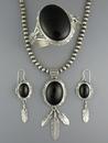 Black Onyx Feather Necklace Set by John Nelson