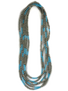 "Three Strand Turquoise Silver Bead Necklace Set 60"" Set (NK3401)"