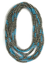 """Three Strand Turquoise Silver Bead Necklace Set 60"""" Set (NK3401)"""