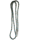 """Long Turquoise Silver Bead Necklace 80"""""""