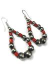Mediterranean Coral Silver Bead Loop Earrings