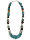 "Turquoise & Gemstone Bead Necklace 21"" by Rose Singer (NK3443)"