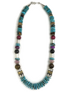 Turquoise & Gemstone Bead Necklace by Rose Singer 21 1/4""