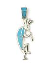 Turquoise Inlay Reversible Kokopelli Pendant (PD3836)