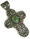 Large Handmade Royston Turquoise Cross Pendant by Darryl Becenti
