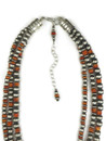"Three Strand Orange Spiny Oyster Silver Bead Necklace Set 20"" with Extender"